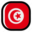 tunisia, national, world, flag, country, nation, square icon