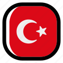 turkey, national, world, flag, country, nation, square icon