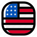 united states, national, world, flag, country, nation, square icon