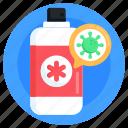 antibacterial spray, hiv spray, medicine, virus spray, medical bottle
