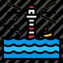 flood, lighthouse, sea, storm, wave