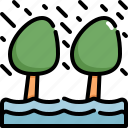 climate change, disaster, flood, flooded, natural disaster, nature, tree icon