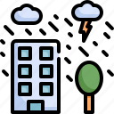 building, climate change, disaster, natural disaster, nature, rain, storm icon