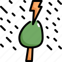 climate change, disaster, natural disaster, rain, storm, thunder, tree icon