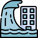 building, city, disaster, flood, flooded, natural disaster, tsunami icon