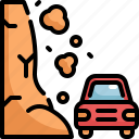 car, climate change, disaster, landslide, natural disaster, nature icon