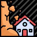 climate change, disaster, house, landslide, natural disaster, nature icon