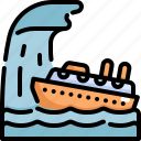 climate change, disaster, natural disaster, nature, ship, ship capsized, tsunami icon