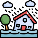 climate change, disaster, flood, flooded, house, natural disaster, nature icon