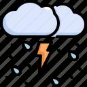 cloud, forecast, rain, storm, thunder, weather icon
