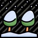 cold, pine, plant, snow, snowflake, tree, winter icon
