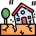 climate change, disaster, earthquake, house, natural disaster, nature icon