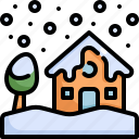 climate change, disaster, house, natural disaster, nature, snow icon