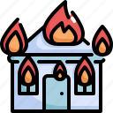 burn, climate change, disaster, fire, house, natural disaster, nature icon