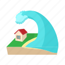 cartoon, danger, disaster, flood, house, tsunami, water icon