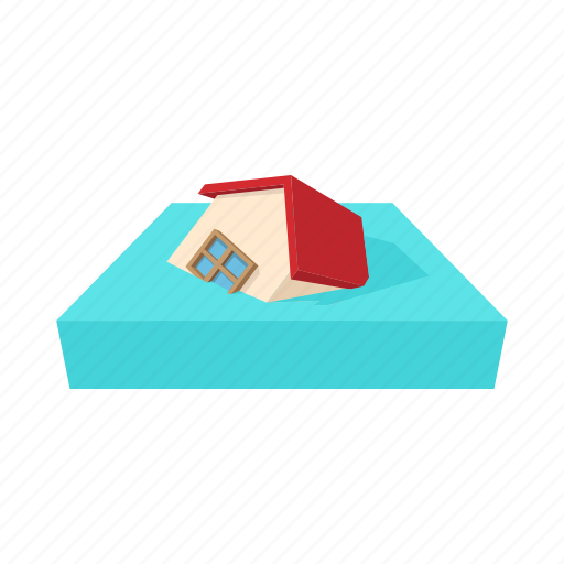 cartoon, disaster, flood, home, house, insurance, water icon