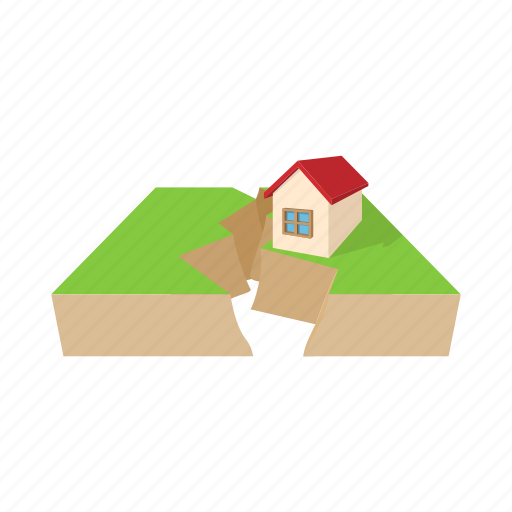 cartoon, damage, destruction, disaster, earthquake, home, house icon