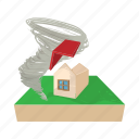 building, cartoon, destruction, house, hurricane, storm, wind icon