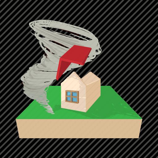 building, cartoon, destruction, house, hurricane, storm, wind icon