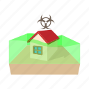 biohazard, cartoon, cloud, danger, house, toxic, warning icon