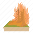 cartoon, danger, fire, flame, forest, smoke, tree icon