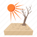cartoon, climate, desert, drought, dry, tree, warming icon