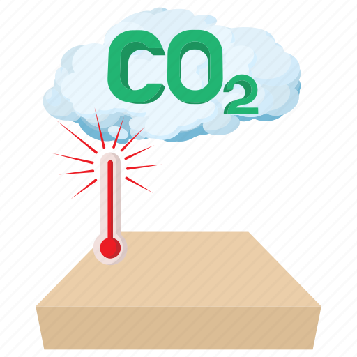 carbon, cartoon, cloud, co2, dioxide, gas, thermometer icon
