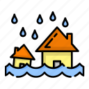 disaster, flood, house, nature, rain, water, weather