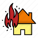 building, burn, disaster, fire, flame, home, house