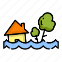 disaster, flood, home, house, nature, water, weather icon