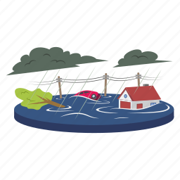 flood, water, town, natural disaster, heavy rain
