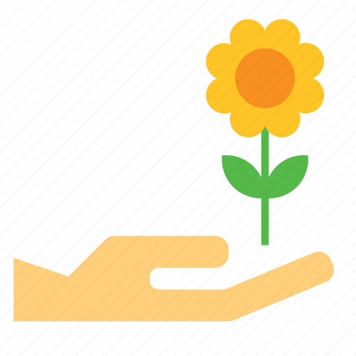 bloom, flower, give, hand, nature icon