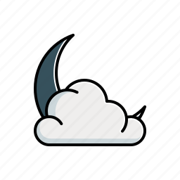 cloudy, moon, nature icon