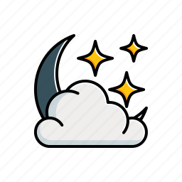 cloudy, moon, nature, star icon