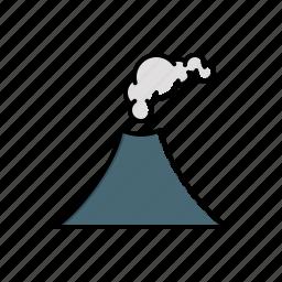 erupting, nature, volcano icon