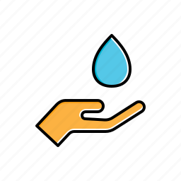 hand, holding, nature, water icon