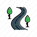 nature, road, tree icon