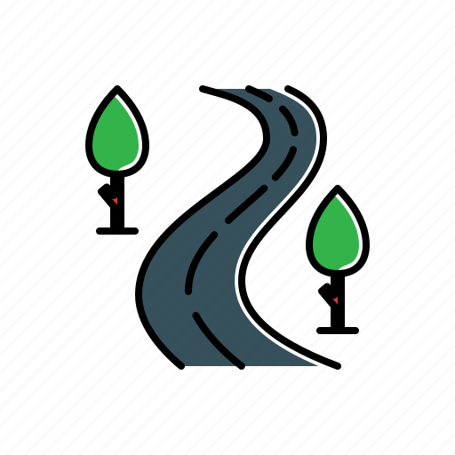 nature, road, tree icon