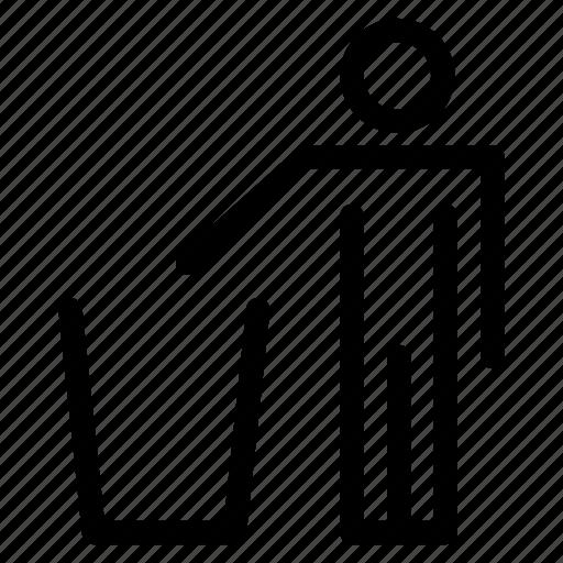 avatar, clean, creative, grid, human, line, man, men, protection, shape, trash icon