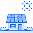 battery, ecology, garden, house, nature, solar, sun icon