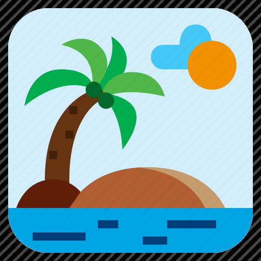 coconut, island, landscape, sea icon
