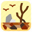 drought, dry, landscape, nature icon