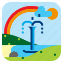 fountain, landscape, nature, rainbow icon
