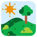 bush, landscape, meadow, tree icon