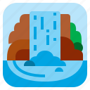 cascade, fall, nature, water icon