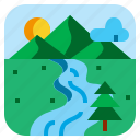 landscape, moutain, river, tree icon