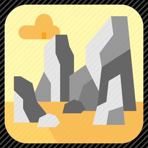 landscape, nature, rock, stone icon