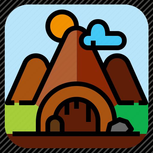 cave, landscape, mountain, nature icon