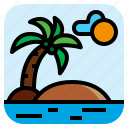coconut, island, landscape, sea icon