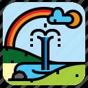 fountain, landscape, nature, rainbow